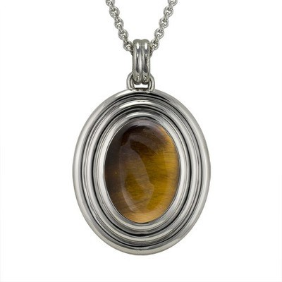 Tiger Eye Ribbed Cremation Pendant