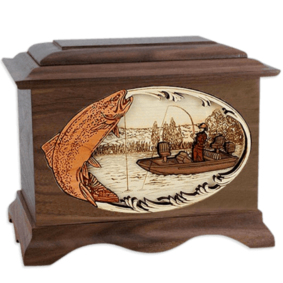 Trout Fishing Walnut Cremation Urn for Two