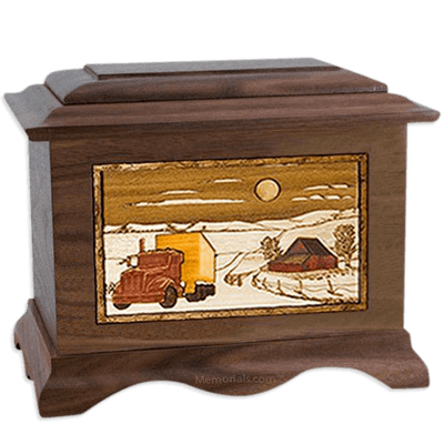Trucker Walnut Cremation Urn For Two