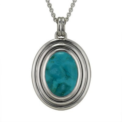 Turquoise Ribbed Cremation Pendant