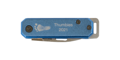 Blue Footprint Knife Keychain