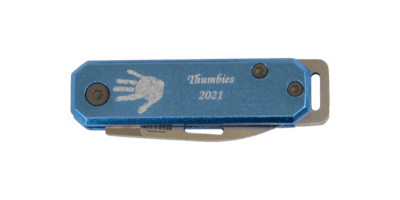 Blue Handprint Knife Keychain