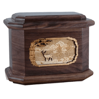 Deer Walnut Octagon Cremation Urn