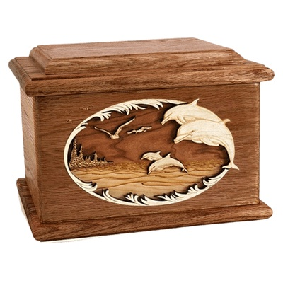 Dolphins Walnut Memory Chest Cremation Urn