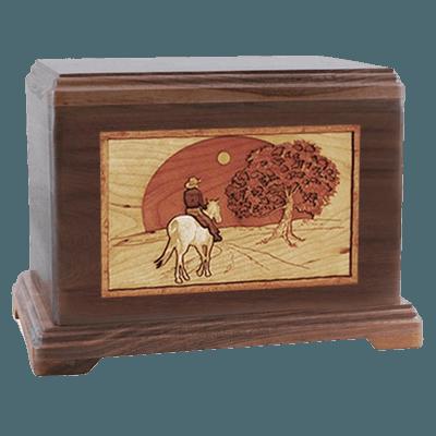 Horse & Moon Walnut Hampton Cremation Urn