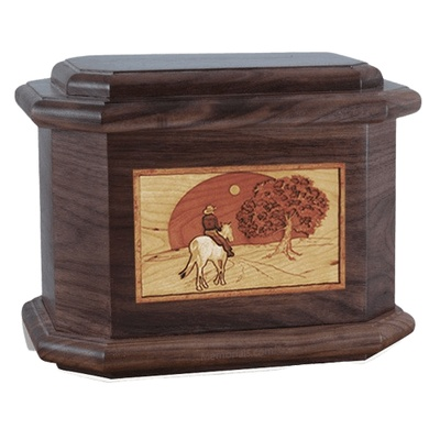 Horse & Moon Walnut Octagon Cremation Urn