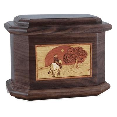 Horse & Moon Walnut Octagon Cremation Urn
