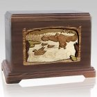 Flying Ducks Walnut Cremation Urn For Two