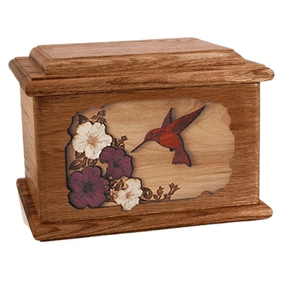Hummingbird Walnut Memory Chest Cremation Urn