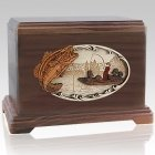 Boat Fishing Walnut Cremation Urn For Two