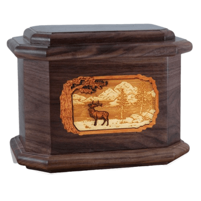 Elk Walnut Octagon Cremation Urn