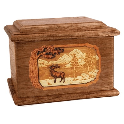 Elk Walnut Memory Chest Cremation Urn