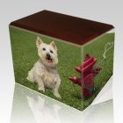 Fire Hydrant Walnut Pet Picture Urn II