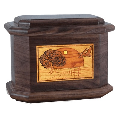 Geese Walnut Octagon Cremation Urn