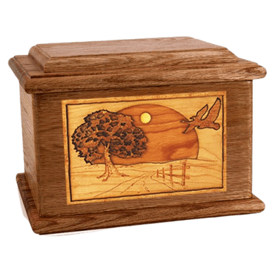 Geese Walnut Memory Chest Cremation Urn