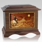 Horse Moon Walnut Cremation Urn