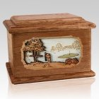 Golf Walnut Memory Chest Cremation Urn