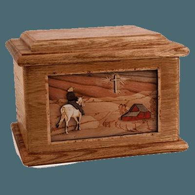 Horse & Cross Walnut Memory Chest Cremation Urn