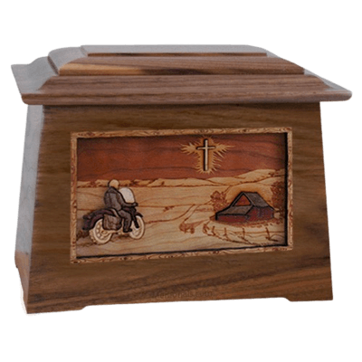Motorcycle & Cross Walnut Aristocrat Cremation Urn