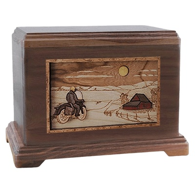 Motorcycle Moon Walnut Hampton Cremation Urn