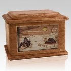Motorcycle Moon Walnut Memory Chest Cremation Urn
