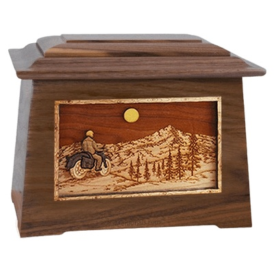 Motorcycle Mountains Walnut Aristocrat Cremation Urn