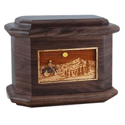 Motorcycle Mountains Walnut Octagon Cremation Urn