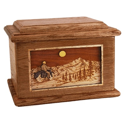 Motorcycle Mountains Walnut Memory Chest Cremation Urn