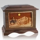 Motorcycle Mountains Walnut Cremation Urn