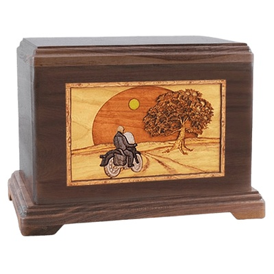 Motorcycle & Moon Walnut Hampton Cremation Urn