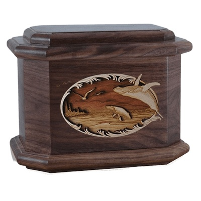 Whale & Calf Walnut Octagon Cremation Urn