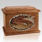 Whale & Calf Walnut Memory Chest Cremation Urn