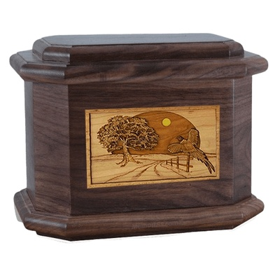 Pheasant Walnut Octagon Cremation Urn