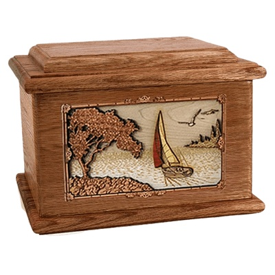 Sailboat Walnut Memory Chest Cremation Urn