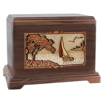 Sailboat Walnut Hampton Cremation Urn