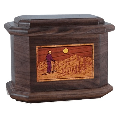 Skiing Walnut Octagon Cremation Urn