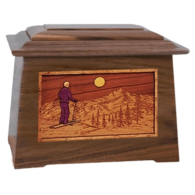 Skiing Walnut Aristocrat Cremation Urn