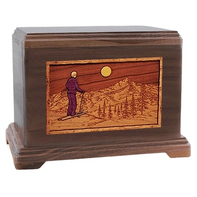 Skiing Walnut Hampton Cremation Urn