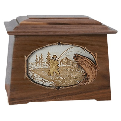 Fly Fishing Walnut Aristocrat Cremation Urn