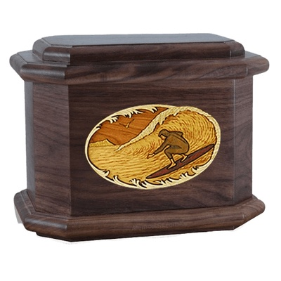 Surfer Walnut Octagon Cremation Urn