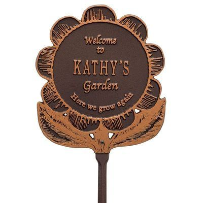 Welcome Garden Flower Antique Dedication Plaque