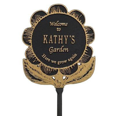 Welcome Garden Flower Black Dedication Plaque