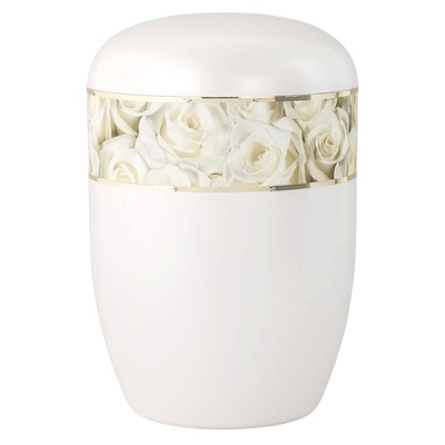 White Roses Biodegradable Urn