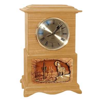 Wolf Clock Oak Cremation Urn