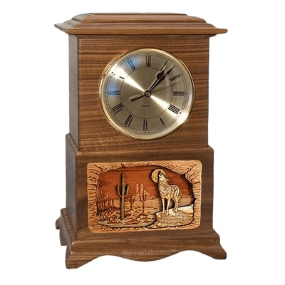 Wolf Clock Walnut Cremation Urn