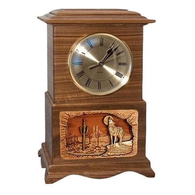 Wolf Clock Walnut Cremation Urn