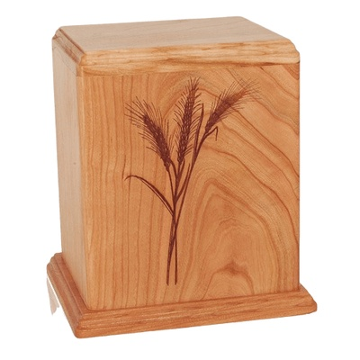 Wheat Cherry Wood Cremation Urn