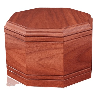 Octagon Cherry Wood Cremation Urn