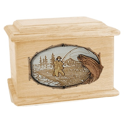 Fly Fishing Maple Memory Chest Cremation Urn