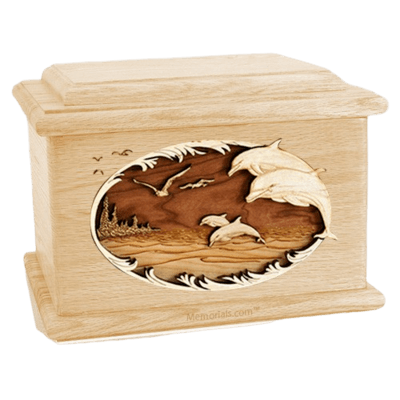 Dolphins Maple Memory Chest Cremation Urn
